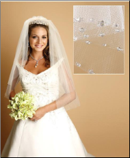 Genuine Swarovski crystals edge veil