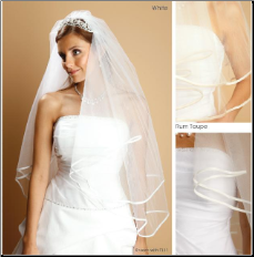 "Folded Satin Ribbon Edge Veil 1/2"" wide"