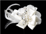 Silver Ivory Feather Ribbon Bridal Hair Clip