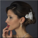 Rhinestone & Crystal Bead Flower Bridal Hair Clip