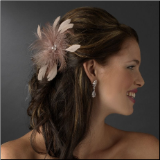 Cafe Brown Feather Fascinator Clip