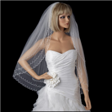 Bridal Wedding Double Layer Elbow Length Veil with Scalloped Beaded Edge