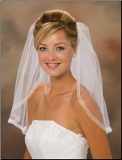 "20"" veil with 5/8"" Sheer Ribbon Edge & Rhinestones"