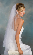 Light Blue Corded Edge Veil