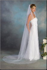 Navy Blue Corded Edge Chapel veil