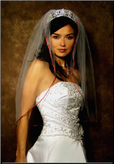 "30"" Garnet or Red Satin Cord Veil (72""W)"
