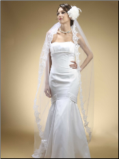 Embroidered Mantilla Veil Floor Length