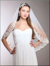 1-Layer Ivory Mantilla Bridal Veil with Crystals, Beads & Lace Edge