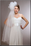 Long Fingertip Bridal Veil with Tulle Pouf