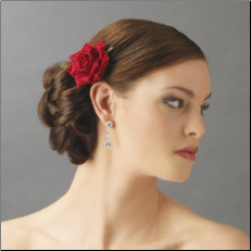 Velvet Red Rose Hair Clip for Bridal Wedding Day