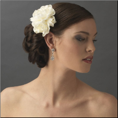 Gardenia Cluster Bridal Hair Flower, White or Ivory