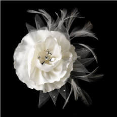 Ivory or White Flower Clip