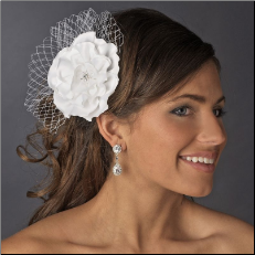 Flower Clip with Tulle in White or Ivory
