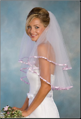 Lavender Satin edge Bridal Veil