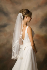 7-361-D3R Ribbon Edge wedding veil