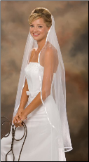 "3/8"" Ribbon Edge Veil knee length"