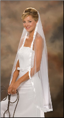 "7/8"" Ribbon Edge Veil Knee Length"