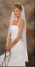 Corded Edge veil w/ Pearls knee length