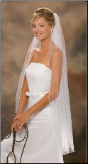 Pearl Edge knee length veil