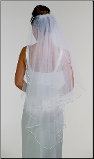 Angel cut rattail Wedding Veil
