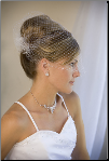 Long visor Bridal Wedding Veil with pearl accents