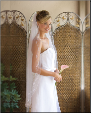 Corded edge veil with appliques trim