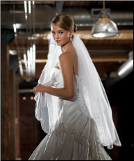 White Scalloped Edge & Embroidery Veil