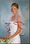 "25""X30"" Garnet 3/8"" Ribbon Edge Veil"
