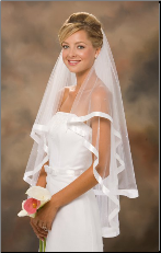 "30""x36"" 7/8"" Ribbon Edge Veil w/ Pearls"