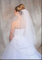 Black corded edge Bridal Veil