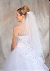Navy Blue corded edge Bridal Veil