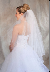 Pink corded edge Bridal Veil