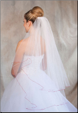 Red Corded Edge Wedding Veil