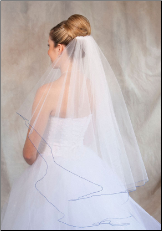 Royal Blue corded edge Bridal Veil