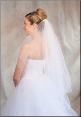 White/Gold corded edge Bridal Veil