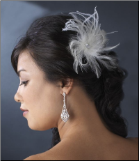 Ivory Bridal Feather Hair Fascinator Clip