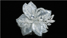 Silver Ivory Clear Hair Flower Clip