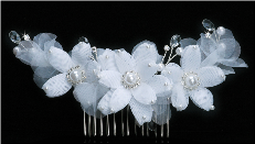Silver Pearl Flower Hair accessory in White or Ivory