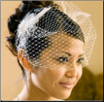 Bridal Feather Accent with Russian Style Cage veil