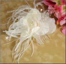 Ivory & Rum Pink Feather Fascinator
