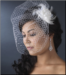 Feather Flower Fascinator with Cage Veil