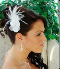 Feather Fascinator White or Ivory HP1533