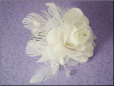 Ivory or White Floral Feather Bridal Hair Accent