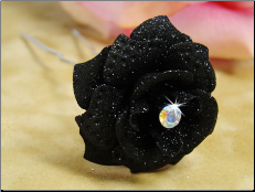 Black Glitter Crystal Bridal Hair Pin