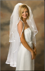 "3/8"" Long Knee Length Ribbon Edge Bridal Veil"