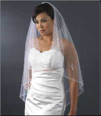 Bridal Wedding Single Layer Waltz Length Veil