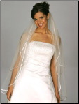 Two Tier Satin Ribbon Edge (1/4 inch) Veil