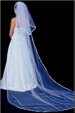 Cathedral Satin Ribbon Edge (1/4 inch) Veil