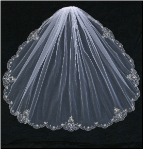 Single Tier Veil with Silver Embroidered Edge, Seed Beads and Pearl Beads