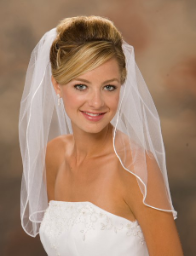 "20"" Long, Rattail Edge Wedding Veil"